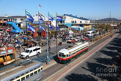 Sight Seeing San Francisco Photograph - Streetcars At Pier 39 San Francisco California 5d26062 by Wingsdomain Art and Photography