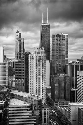 Hancock Building Wall Art - Photograph - Streeterville From Above Black And White by Adam Romanowicz