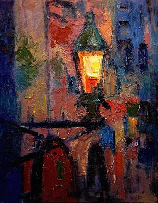 Nightlight Painting - Streetlamp In Monemvasia by R W Goetting