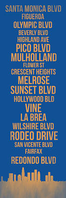 Panoramic Digital Art - Streets Of Los Angeles 3 by Naxart Studio