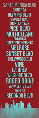 Capital Cities Digital Art - Streets Of Los Angeles 4 by Naxart Studio