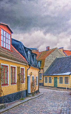 Streets Of Lund Digital Painting Art Print by Antony McAulay