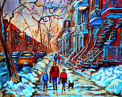 Montreal Winter Scenes Painting - Streets Of Montreal by Carole Spandau