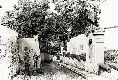 Old Prague Photograph - Streets Of Old Prague 2. Black And White by Jenny Rainbow