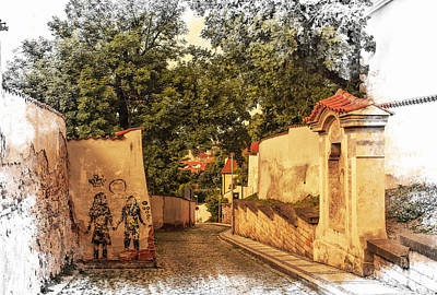 Prague Drawings Photograph - Streets Of Old Prague 2 by Jenny Rainbow