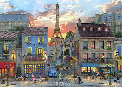 Cafes Drawing - Streets Of Paris by Dominic Davison