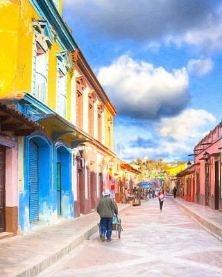 Streets Of San Cristobal De Las Casas - Colorful Mexico Art Print by Mark E Tisdale