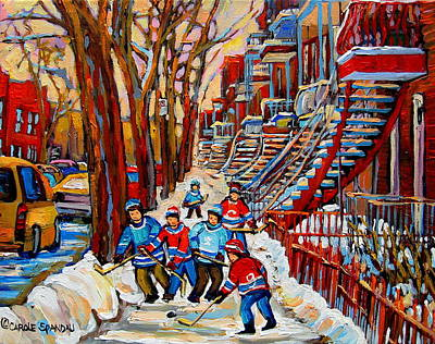 Of Verdun Montreal Winter Street Scenes Montreal Art Carole Painting - Streets Of Verdun Hockey Art Montreal Street Scene With Outdoor Winding Staircases by Carole Spandau