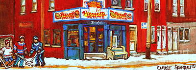 Hot Dog Joints Painting - Streets Of Verdun Hockey Game At Famous Verdun Restaurant Pierrette Patates Montreal Hockey Art  by Carole Spandau