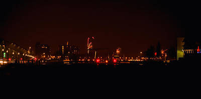 Photograph - Streetview From Brightly Colorful Fireworks by Yvon van der Wijk