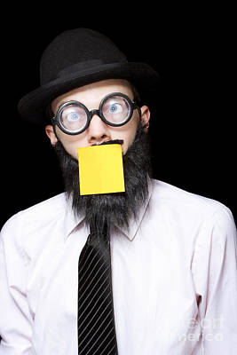 Stressed Mad Scientist With Sticky Note On Face Art Print by Jorgo Photography - Wall Art Gallery