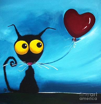 Stressie Cat And Her Love Balloon Original by Lucia Stewart