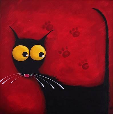 Stressie Cat Art Print by Lucia Stewart