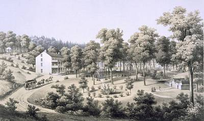 Horse Drawing - Stribling Springs, Spa Village, Augusta by Edward Beyer