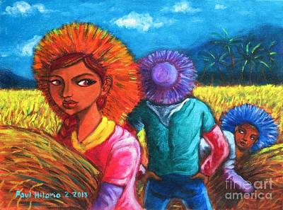 Rice Field Painting - Strict Si Itay by Paul Hilario