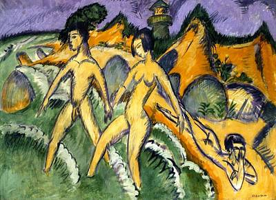 Stride Painting - Striding Into The Sea by Ernst Ludwig Kirchner