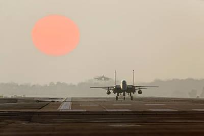 F15e Wall Art - Photograph - Strike Eagle Winter Sunset Uk by Nigel  Blake