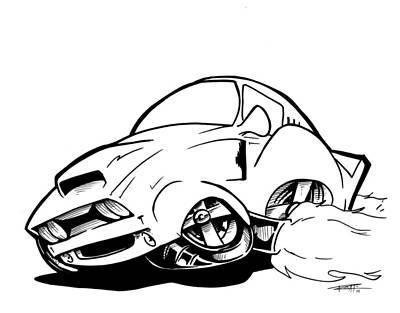 Super Cars Drawing - Strike One by Big Mike Roate