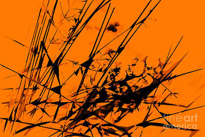 Strike Out Orange And Black Abstract Art Print by Natalie Kinnear