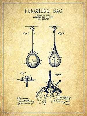 Punching Drawing - Striking Bag Patent Drawing From 1891 - Vintage by Aged Pixel