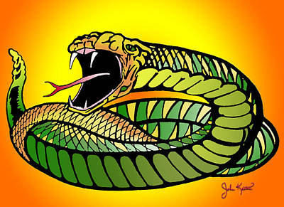 Johnkeaton Digital Art - Striking Snake by John Keaton
