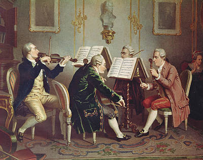 String Quartet Colour Litho Art Print by Austrian School