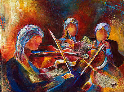 Mixed Media - String Trio by Miki  Sion