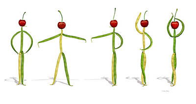 Photograph - Stringbean Cherries Five Ballet Positions  by Donna Basile