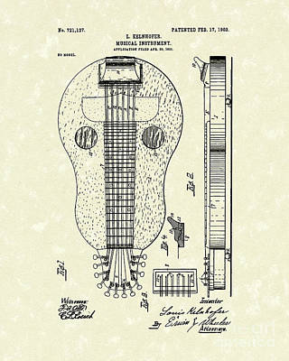 Drawing - Stringed Instrument 1903 Patent Art by Prior Art Design
