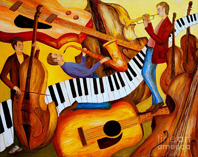 Beale Street Painting - Strings And Things by Larry Martin