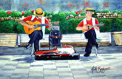 Strings At The Sidewalk Cafe Art Print by Ruth Bodycott
