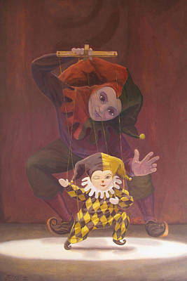 Marionette Painting - Strings Attached by Leonard Filgate