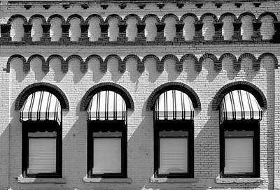 Photograph - Striped Awnings 2 Black And White by Mary Bedy