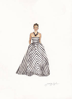 Fashion Illustration Wall Art - Painting - Striped Glamour by Jazmin Angeles