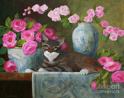 Striped Kitten With Pink Roses Art Print by Sue Cervenka