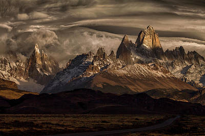 South America Wall Art - Photograph - Striped Sky Over The Patagonia Spikes by Peter Svoboda, Mqep