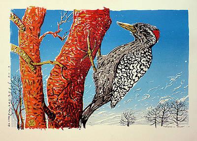 Woodpecker Mixed Media - Striped Woodpecker by Javier Molina