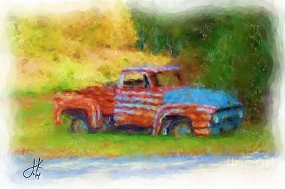 Pastel - Stripes Of Red White And Rust by Julie Knapp