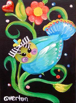 Stripey Birdy Art Print