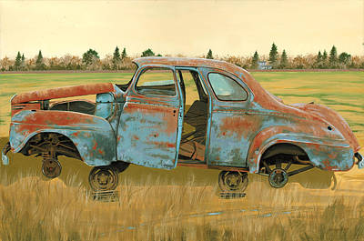 Rusted Cars Painting - Stripped Down by John Wyckoff