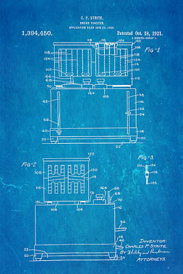 Toaster Photograph - Strite Bread Toaster Patent Art 1921 Blueprint  by Ian Monk