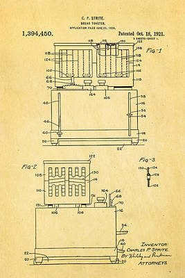 Toaster Photograph - Strite Bread Toaster Patent Art 1921 by Ian Monk