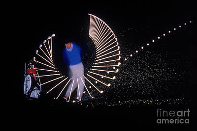 Stroboscopic Photograph - Stroboscopic Golf Swing by Michel Hans Vandystadt