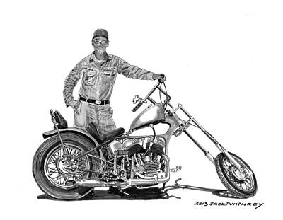 Drawing - Strokers 1948 Harley Wla by Jack Pumphrey