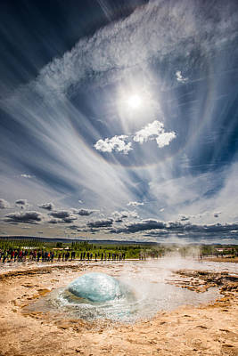 Strokkur Geyser About To Erupt, Iceland Art Print by Panoramic Images