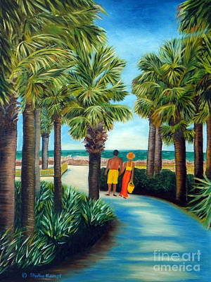 Art Print featuring the painting Stroll In Paradise Plantation by Shelia Kempf
