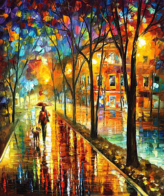 Stroll With My Best Friend - Palette Knife Oil Painting On Canvas By Leonid Afremov Original by Leonid Afremov