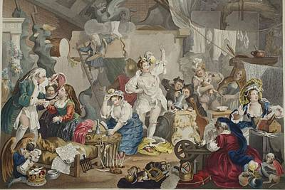 Celebrities Drawing - Strolling Actresses Dressing In A Barn by William Hogarth