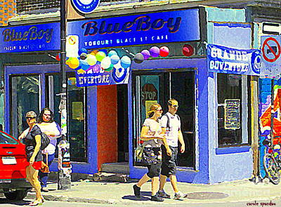 Painting - Strolling By The Blue Boy Frozen Yogurt Glacee Cafe Plateau Mont Royal City Scene Carole Spandau   by Carole Spandau