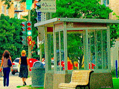 Montreal Street Life Painting - Strolling By The Empty Bus Shelter Tree Lined Streets Of Montreal Heatwave City Scene Carole Spandau by Carole Spandau